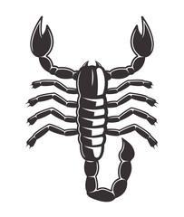 Scorpion tattoo style black vector illustration