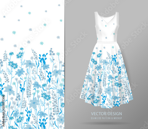 Hand drawn Floral pattern on dress mockup  Seamless vector texture