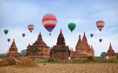 Colorful hot air balloons flying over Bagan, Mandalay division, Myanmar