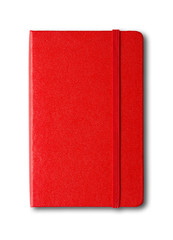 Red closed notebook isolated on white