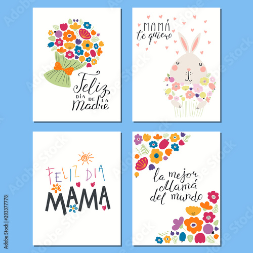 Set of Mothers Day cards templates with hand written ...