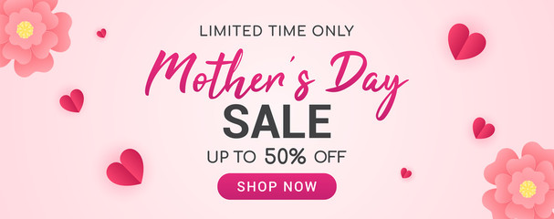 Mother's day sale vector illustration. Banner design with beautiful paper flowers and hearts.