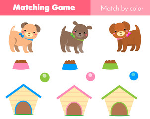 Educational children game. Match by color. Animals theme kids activity with cartoon dog