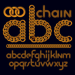 Vector script, modern business alphabet letters, abc set. Lower case decorative font created using chrome chain, linkage.