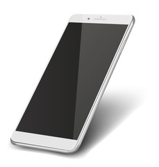 Smart phone with black screen isolated on white background.