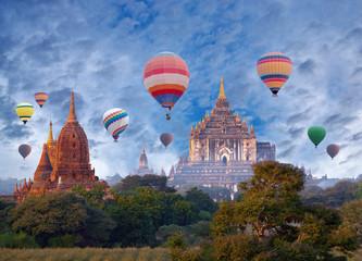 Thatbyinnyu Temple and hot air balloons flying over Bagan, Mandalay division, Myanmar