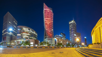 modern skyscrapers in the center of the Polish capital, Warsaw.
