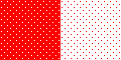 Bright red and white heart shape retro design polka dots background pattern, two inverted tiles