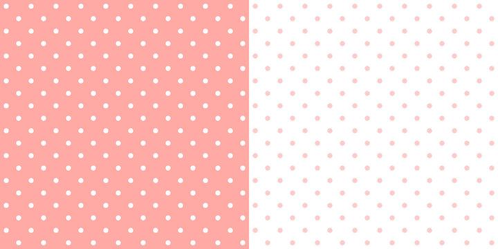 Pastel pink retro design polka dots background pattern, two inverted tiles