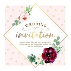 Pink  and gold watercolor floral background