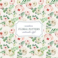 Seamless floral pattern in vintage watercolor style