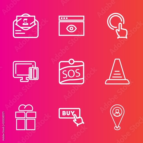 Premium set with outline vector icons  Such as computer