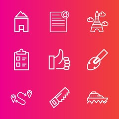 Premium set with outline vector icons. Such as tower, sea, mark, mortgage, architecture, list, france, position, checklist, famous, graphic, tick, water, hand, landmark, house, sign, investment, ship
