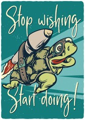 T-shirt or poster design with illustrated turtle on the rocket