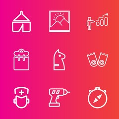 Premium set with outline vector icons. Such as frame, doctor, pretty, equipment, progress, south, hiking, chessboard, compass, photo, development, sea, direction, adventure, hand, blank, chess, game