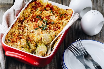 Poster Brussels Baked brussel sprout gratin with a bacon and bread crumbs