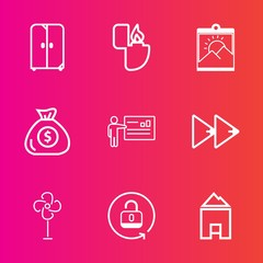 Premium set with outline vector icons. Such as finance, rewind, photo, fan, interior, picture, white, protection, money, object, banking, office, financial, music, gas, furniture, blank, flame, button