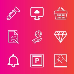 Premium set with outline vector icons. Such as zoom, notification, store, sound, road, blank, tool, bugle, shop, delivery, picture, shipping, web, car, frame, jazz, bell, package, sign, gem, musical