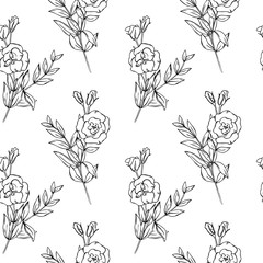 vector contour eustoma lisianthus flowers coloring book seamless repeating pattern