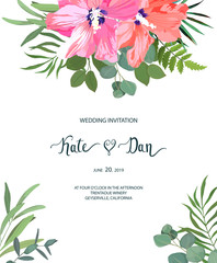 Floral set with hibiscus. Wedding Invitation, save the date, rsvp, invite card. Vector illustration. Celebration template. Watercolor style