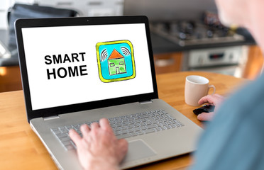 Smart home concept on a laptop