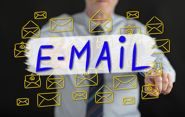 Man touching an e-mail concept