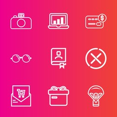 Premium set with outline vector icons. Such as office, data, present, bill, camera, list, jump, money, contact, eyesight, parachute, digital, bar, book, glasses, ribbon, computer, film, chart, sky, no