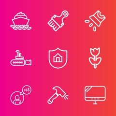 Premium set with outline vector icons. Such as pc, ship, nature, blossom, blue, flower, screen, laptop, water, freelancer, construction, work, video, protection, marine, cinema, house, cruise, film,