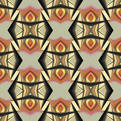 Seamless geometric texture to the fabric, textile, background. Color pattern with dark lines based on a combination of African style, boho, hipster. Grainy grunge backdrop.