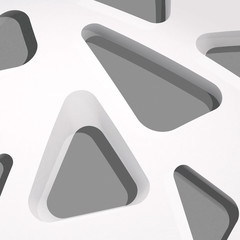 3d illustration. White background with holes of triangle shape of different sizes with rounded corners. Render.