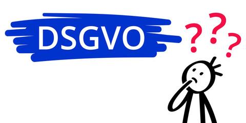 DSGVO, Datenschutzgrundverordnung, Strichmännchen, Fragezeichen, Mann hat viele Fragen, ahnungslos