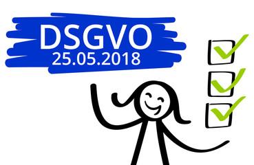 DSGVO, Datenschutzgrundverordnung, Frist bis 25.05.2018, Strichmännchen, Frau, Checkliste, alles erledigt, Banner