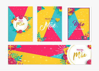 Mother day paper card and label set in portuguese