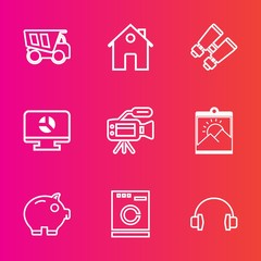 Premium set with outline vector icons. Such as camera, picture, microphone, tipper, tripod, cash, appliance, stereo, glasses, money, housework, truck, house, watch, chart, music, transport, car, real