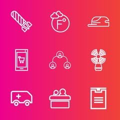 Premium set with outline vector icons. Such as travel, online, hat, rescue, beacon, flame, emergency, delivery, company, medical, explosive, app, fahrenheit, phone, degree, car, hierarchy, explosion
