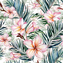Pink plumeria flowers and exotic palm leaves in seamless tropical pattern. White background.  Watercolor painting. Hand drawn and painted floral illustration.