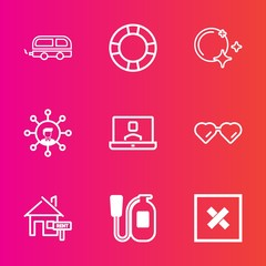 Premium set with outline vector icons. Such as communication, white, city, danger, glasses, fire, video, display, ring, sign, technology, emergency, house, property, transport, safety, home, night