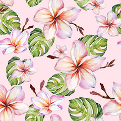 Exotic plumeria flowers and green monstera leaves on pink background in seamless tropical pattern. Watercolor painting.
