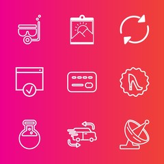 Premium set with outline vector icons. Such as technology, money, page, white, car, underwater, border, sea, image, equipment, beach, transportation, picture, laboratory, frame, snorkeling, photo, art