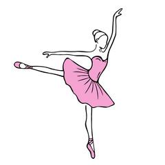 Beautiful hand drawn ballerina stock illustration