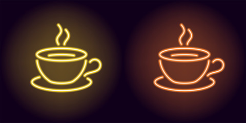 Neon cup and saucer in yellow and orange color