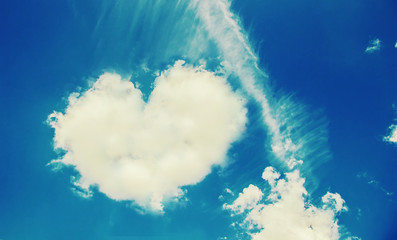 heart from a cloud in the sky. selective focus.