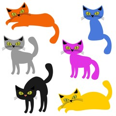 nice cats on white background