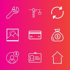 Premium set with outline vector icons. Such as building, refresh, repair, photo, reload, document, frame, finance, money, business, wrench, tool, account, spanner, id, identification, service, hammer
