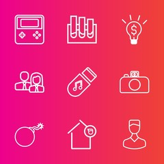 Premium set with outline vector icons. Such as people, web, success, bomb, nuclear, photography, sound, owner, human, science, medicine, lab, tube, house, technology, button, worker, chemical, storage