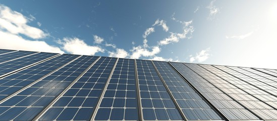 solar energy, solar panels, renewable energy sources, 3D rendering