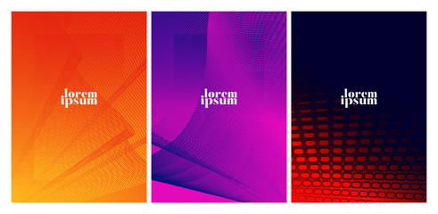 Colorful covers design. Minimal geometric pattern gradients.