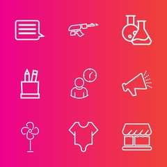 Premium set with outline vector icons. Such as war, clock, work, girl, message, web, army, fan, ventilator, time, shop, education, cooler, technology, internet, speaker, pencil, air, sound, stationery