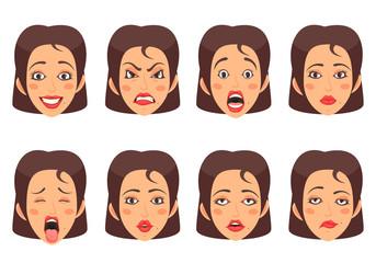 Woen Facial Gestures Set