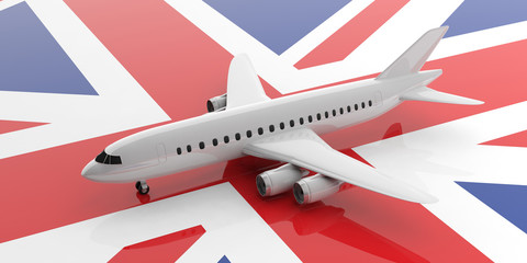 Airplane on UK flag background, view from above. 3d illustration